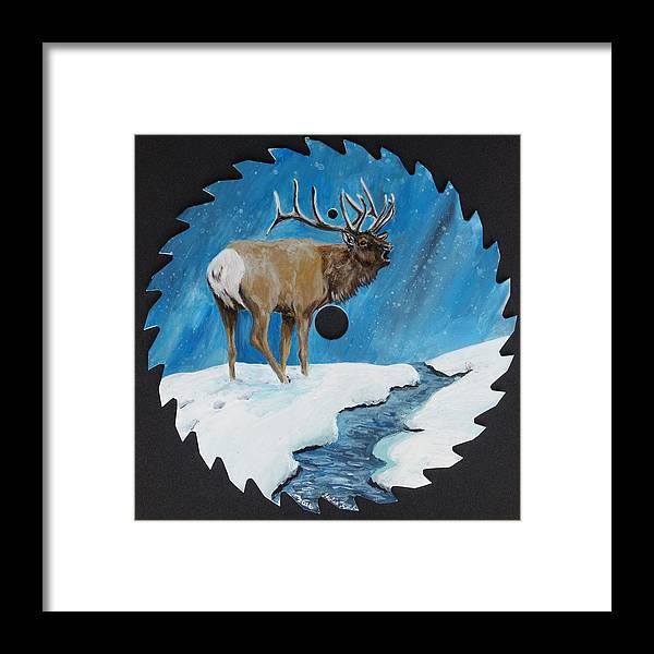 Elk Framed Print featuring the painting Elk In Snow by Halie French