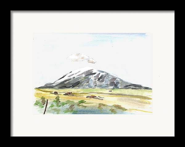 Kevin Callahan Framed Print featuring the painting Elk Mountain Wyoming by Kevin Callahan