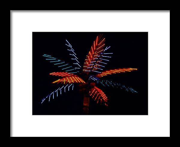 Neon Framed Print featuring the photograph Ellas Neon Palm by David Houston