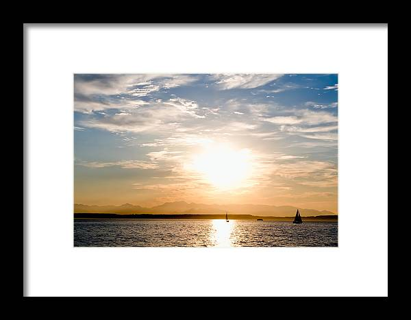 Seattle Framed Print featuring the photograph Elliott Bay Sunset by Tom Dowd