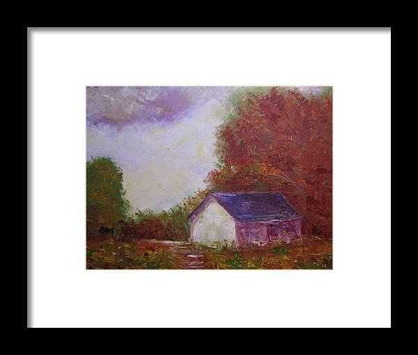 Farm Scene Framed Print featuring the painting Elmer's Farm by Belinda Consten