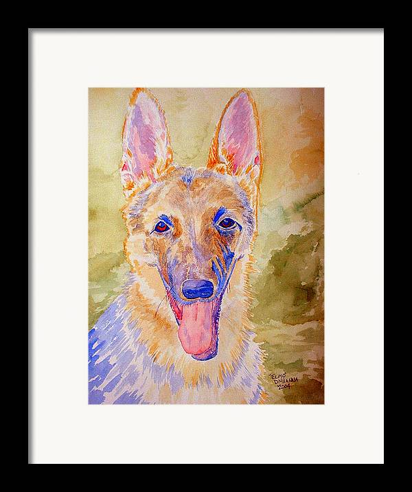 German Shepard Framed Print featuring the painting Elmo - Watercolor by Donna Hanna