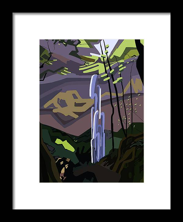 Falls Framed Print featuring the painting Elowah Falls, Oregon by Illona Battaglia Aguayo