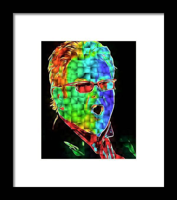 Elton Framed Print featuring the digital art Elton John in Cubes 2 by Yury Malkov