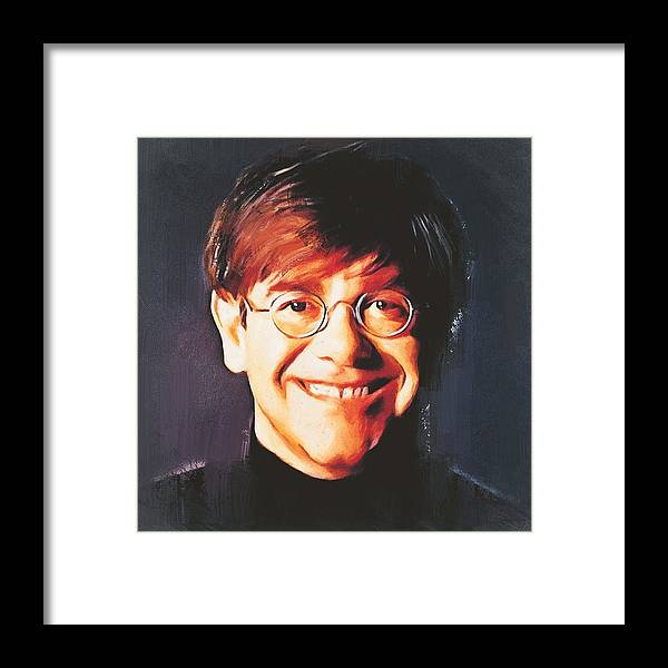 Elton Framed Print featuring the digital art Elton john young portrait by Yury Malkov