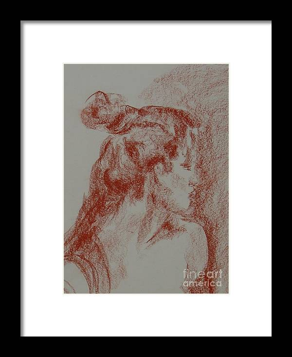 Portrait Woman Original Drawing Leilaatkinson Framed Print featuring the painting Elusive by Leila Atkinson