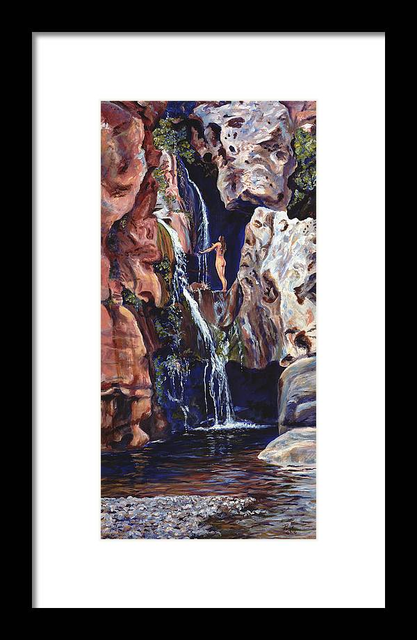Landscape Framed Print featuring the painting Elves Chasm by Page Holland