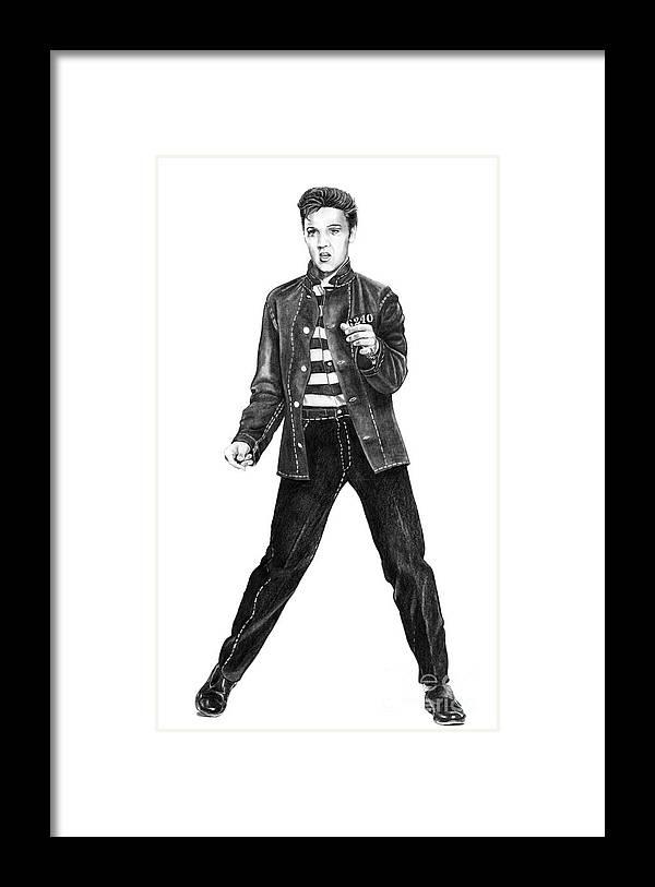 Elvis Framed Print featuring the drawing Elvis Presley  by Murphy Elliott