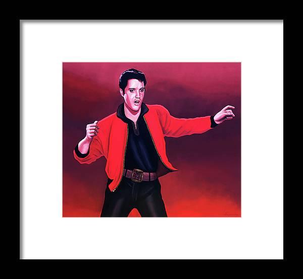 Elvis Framed Print featuring the painting Elvis Presley 4 Painting by Paul Meijering