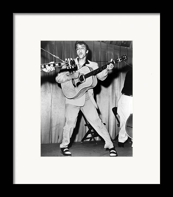 1950s Portraits Framed Print featuring the photograph Elvis Presley, C. Mid-1950s by Everett
