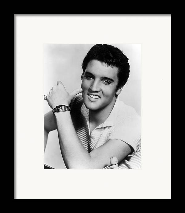 1950s Portraits Framed Print featuring the photograph Elvis Presley, Ca. 1950s by Everett