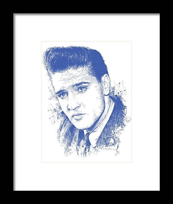 Chadlonius Framed Print featuring the digital art Elvis Presley Portrait by Chad Lonius