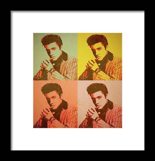 Elvis Retro Pop Art Framed Print featuring the painting Elvis Retro Pop Art by Dan Sproul