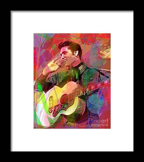 Elvis Framed Print featuring the painting Elvis Rockabilly by David Lloyd Glover