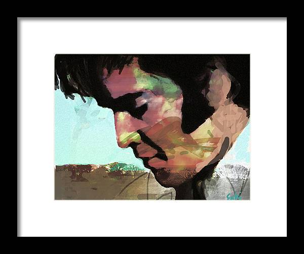 Elvis Framed Print featuring the drawing Elvis shadows and trees by Enki Art