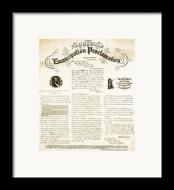 Emancipation Proclamation Framed Print featuring the photograph Emancipation Proclamation by Photo Researchers