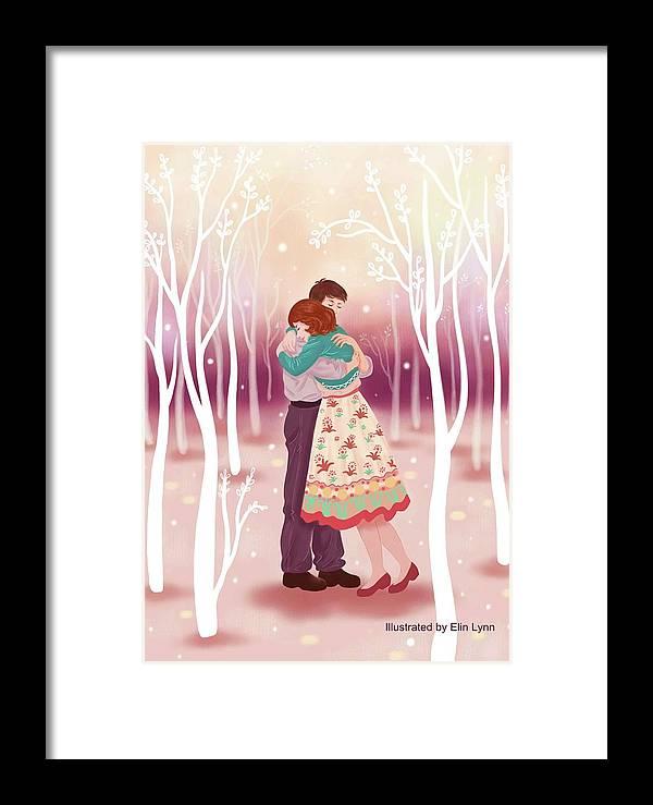 Love Framed Print featuring the digital art Embrace by Elin Lynn