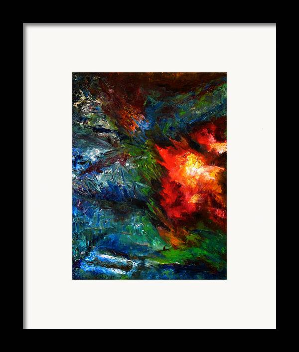 Abstract Framed Print featuring the painting Embrace by Lou Ewers