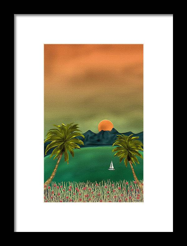 Tropical Island Ocean Sea Seascape Palms Sunset Sailing Sailboat Nature Gordon Beck Art Framed Print featuring the painting Emerald Bay by Gordon Beck