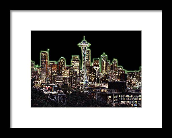 Colorful Framed Print featuring the photograph Emerald City by Larry Keahey
