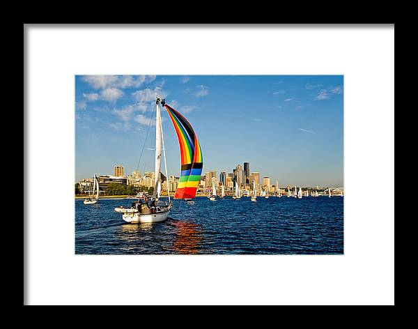 Seattle Framed Print featuring the photograph Emerald City Sail by Tom Dowd