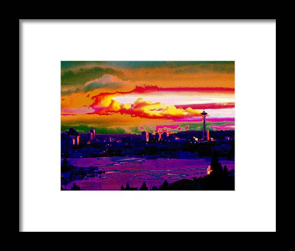Seattle Framed Print featuring the photograph Emerald City Sunset by Tim Allen