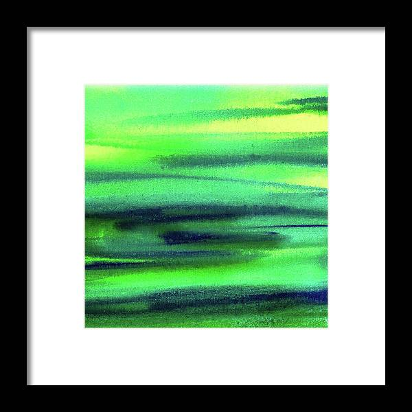 Emerald Framed Print featuring the painting Emerald Flow Abstract Painting by Irina Sztukowski