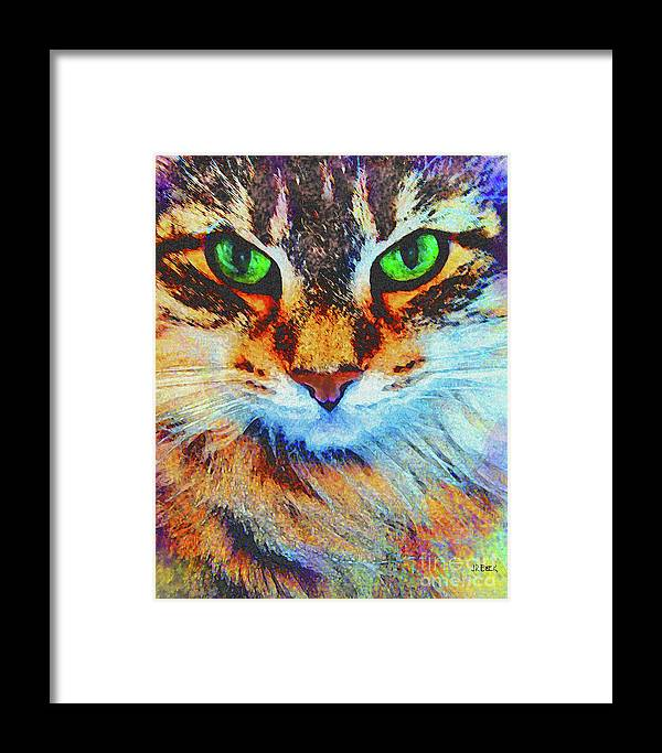 Emerald Gaze Framed Print featuring the digital art Emerald Gaze by John Beck