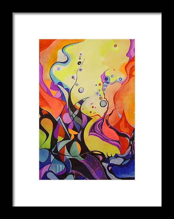 Watercolors Pens Paper Abstract Framed Print featuring the painting Emergence by Wolfgang Schweizer