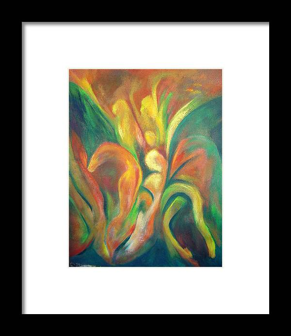 Abstract Framed Print featuring the painting Emergence by Zoe Landria