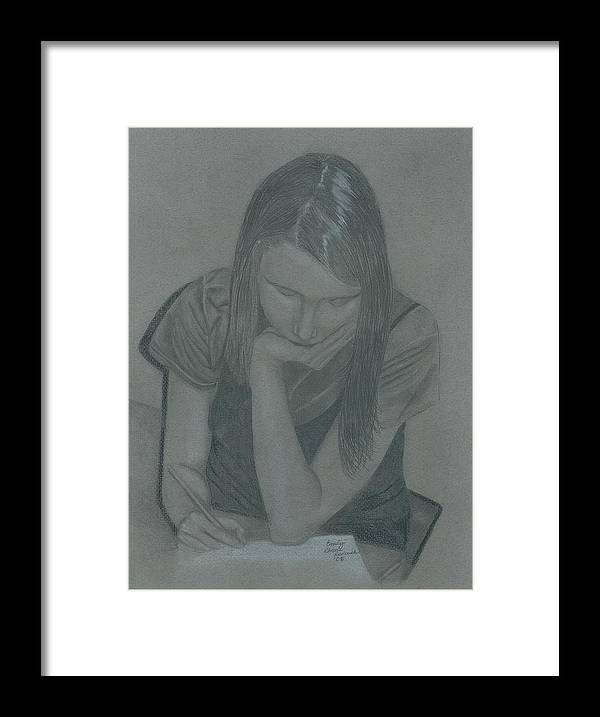 Charcoal Framed Print featuring the drawing Emily by Rhonda Rodericks