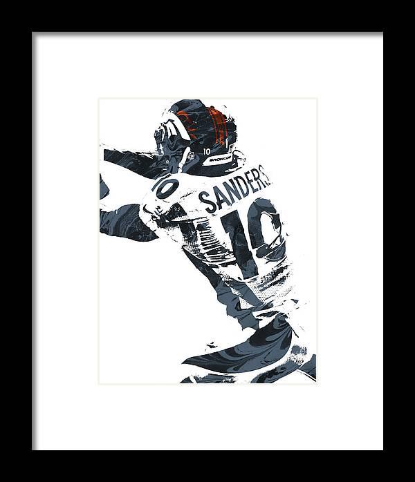 Emmanuel Sanders Denver Broncos Pixel Art Framed Print by Joe Hamilton