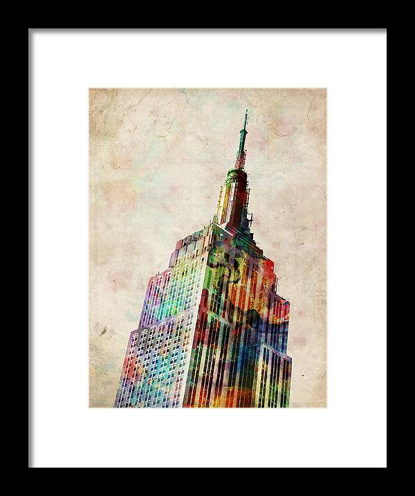 Empire State Building Framed Print featuring the digital art Empire State Building by Michael Tompsett