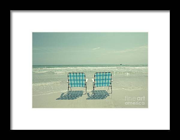Chair Framed Print featuring the photograph Empty Beach Chairs by Edward Fielding