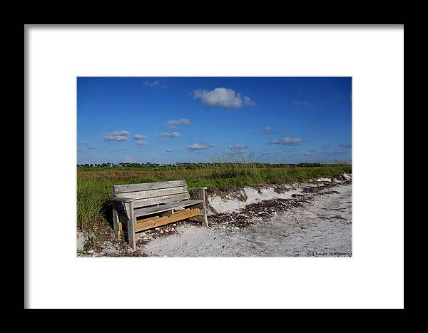 Landscape Framed Print featuring the photograph Empty Bench by Barbara Bowen