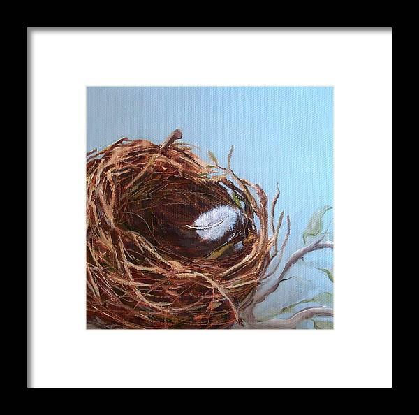Empty Bird Nest Framed Print featuring the painting Empty Nest by Irene Corey