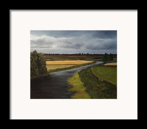 Original Landscape In Oil Framed Print featuring the painting Emsland Germany by Sharon Steinhaus