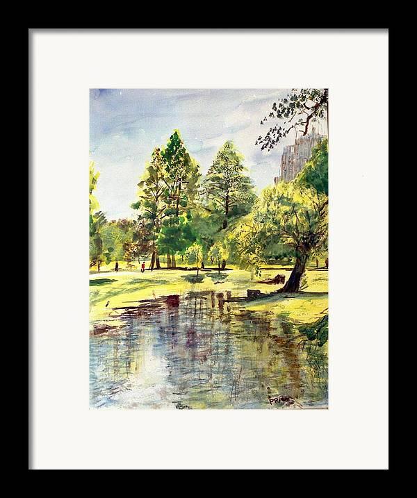 Watercolor Framed Print featuring the painting En El Parque A Mediodia by Horacio Prada