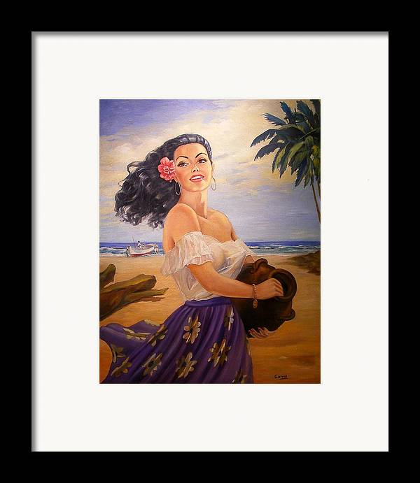 Beach Framed Print featuring the painting En La Playa by Corral