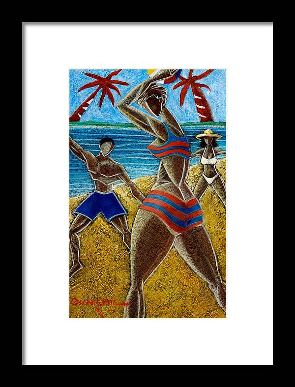 Beach Framed Print featuring the painting En Luquillo Se Goza by Oscar Ortiz