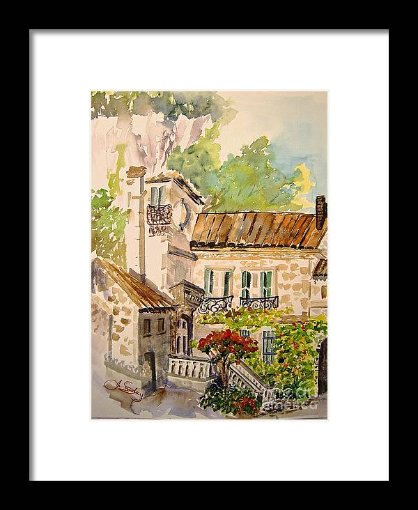 France Framed Print featuring the painting En Plein Air At Moulin De La Roque France by Joanne Smoley