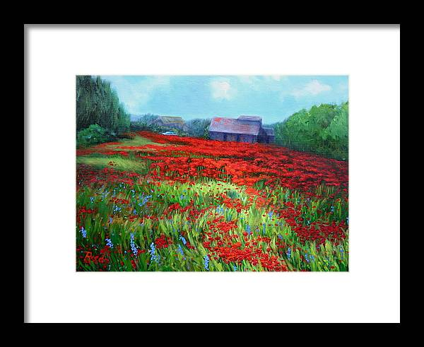 Landscape Framed Print featuring the painting en route to Arles by Patricia Reed