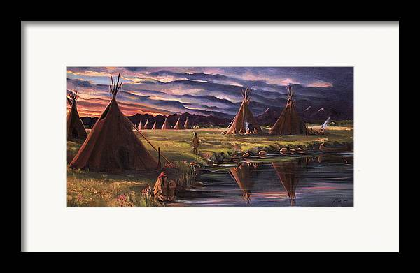 Native American Framed Print featuring the painting Encampment At Dusk by Nancy Griswold