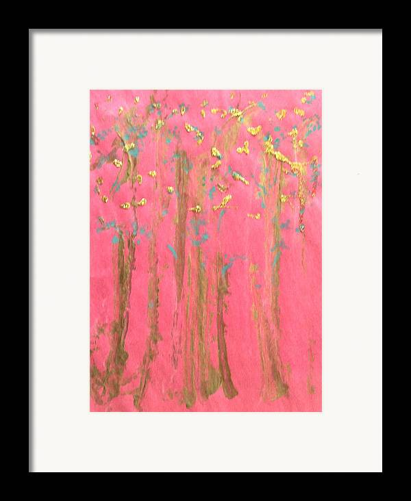 Abstract Framed Print featuring the painting Enchanted Forest - Abstraction by Michela Akers