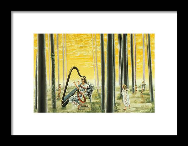 Landscape Framed Print featuring the painting Enchanted Forest by Gloria Cigolini-DePietro