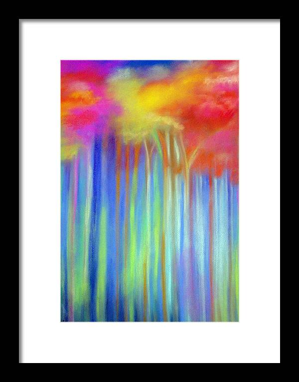 Landscpe Framed Print featuring the painting Enchanted Forest by Maritza Bermudez