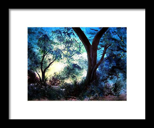 Landscape Framed Print featuring the painting Enchanted Forest by Sherri Patterson