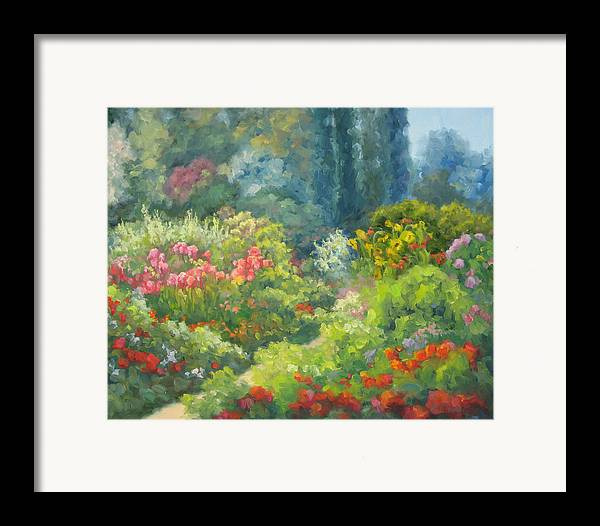 Landscape Framed Print featuring the painting Enchanted Garden by Bunny Oliver