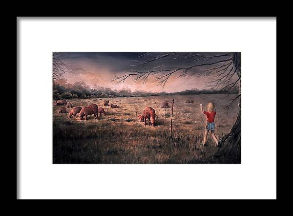 Landscape Framed Print featuring the painting A childhood by William Russell Nowicki