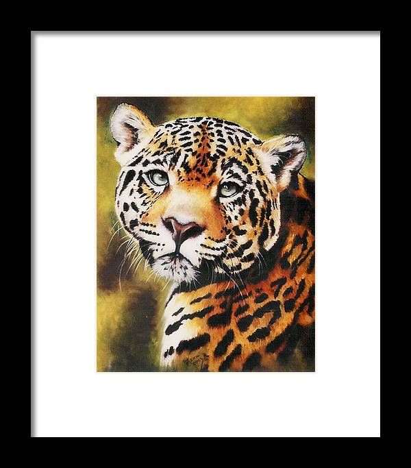 Jaguar Framed Print featuring the pastel Enchantress by Barbara Keith